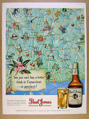 1950 Connecticut Map cities towns landmarks Paul Jones Whiskey vintage print Ad