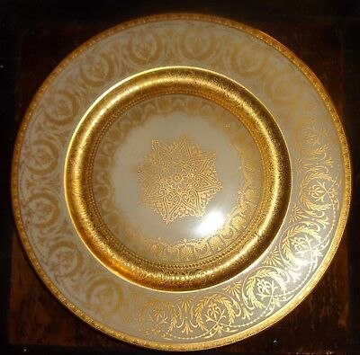 """HEINRICH & CO. 2 Heavy GOLD ENCRUSTED Medallion 11"""" PLATES  Lot of 2"""