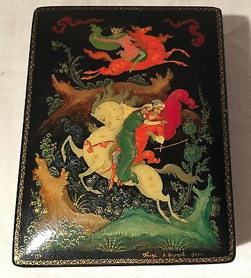 Vintage Hand Painted Russian  Box Signed A Gayupef, 1984 , USSR made