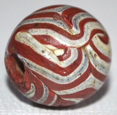 Ancient Islamic Folded Red & White Glass Bead Excavated In Mali, African Trade