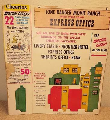 1957 Lone Ranger Movie Ranch Wild West Town  Express Office Cheerios Box Panel