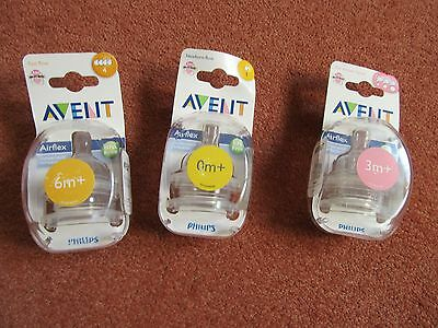2x Philips AVENT Airflex Silicone Nipple Flow Baby Bottle Teats