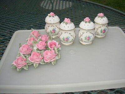 Lot of 13 Vintage CAPODIMONTE Pink Rose Porcelain Place Card Holders /Shakers
