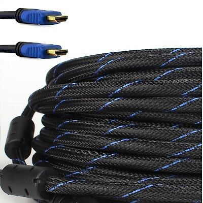 100ft Premium HDMI Cable braided For BLURAY 3D DVD PS4 XBOX LCD Blue HDTV 1080P