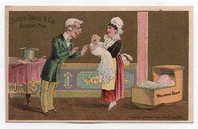 Advertising trade card  Curtis Davis Welcome Soap   Family admire newborn baby