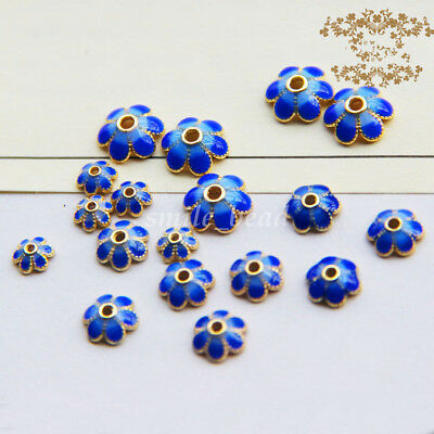 Charms Golden Tone Enamel Flower-Shape Alloy Bead End Tips Caps DIY 5mm 8mm 10mm