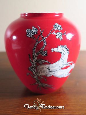 Crown Devon Fieldings Red and White Pegasus Horse Bulbous Pottery Vase
