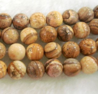 """Natural 8mm 15"""" round Chinese Picture stone gemstone loose beads AAA"""