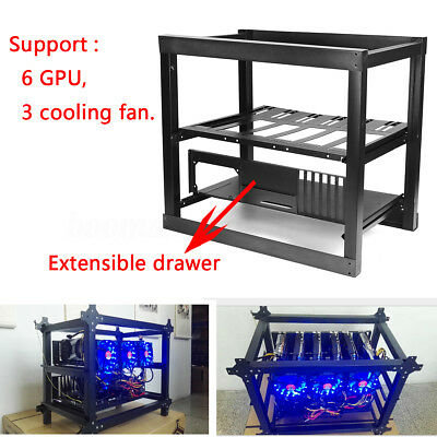 Steel Coin Open Air Miner Mining Frame Rig Case Support 6 GPU/3 Fan BTC LTC ETH