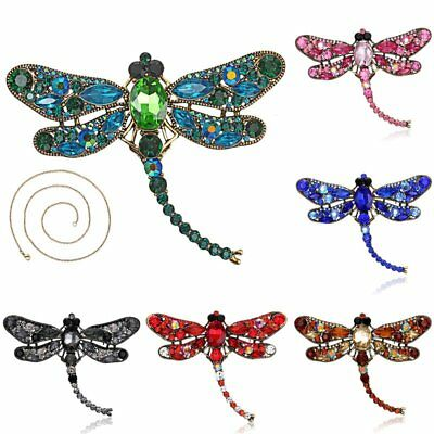 2 in 1 Vintage Gold Crystal Rhinestone Dragonfly Brooch Pin Chain Necklace Gift