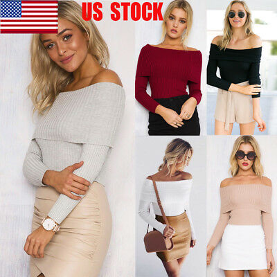 US Women Off Shoulder Bodycon Casual Tops Long Sleeve Fit T Shirt Jumper Sweater