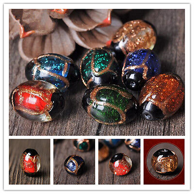 5Pcs Gold Foil Round Glass Loose Spacer Jinsha Glitter Beads DIY Jewelry Making