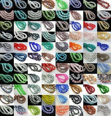 Crystal Glass Faceted Rondelle Beads Jewelry Finding Loose Spacer 100-1000Ps 4mm