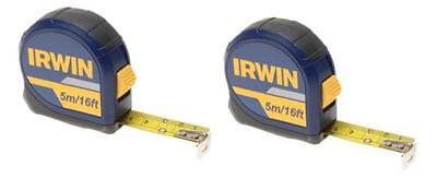 IRWIN 10508056 Pocket Tape Measure 5 Metre / 16 Foot (Width 19mm) **PACK OF 2**