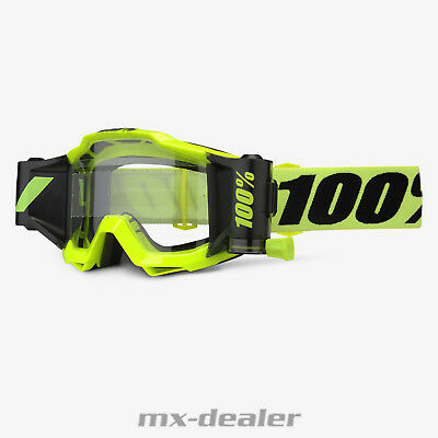 100 % Prozent Accuri Forecast MX Motocross Cross Brille Fluo Yellow Roll Off