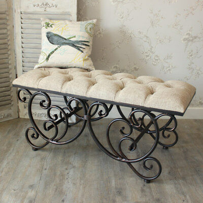 Ornate upholstered bench seat shabby french chic vintage seating bedroom hallway