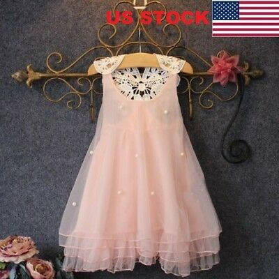 Girls Beauty Flower Princess Dress Kids Baby Party Pageant Lace Tulle Tutu Dress