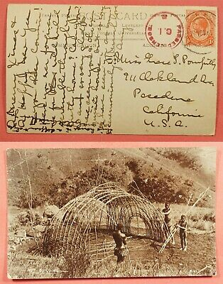 British Kut Rppc Hut Building Real Photo Card To Usa Wwi Censored