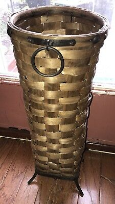 VINTAGE From Spain Wicker Woven Umbrella Basket Forged Iron Accents