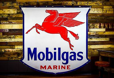 Mobil Marine Porcelain Sign 6' Gas Oil Service Station 1946 VERY RARE Condition