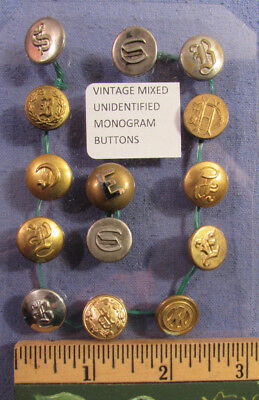 Antique Lot Of 14 Unidentified Monogram Brass Buttons Military ?