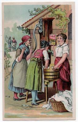 Ivorine Soap   Victorian Trade card   Women talk over Washtub