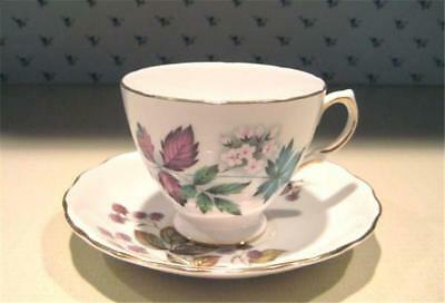 """Vintage  Royal Vale """"Fall Leaves"""" Footed Teacup and Saucer"""