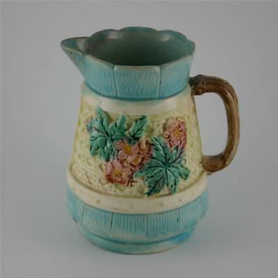 Antique Old Majolica Blue Green Water Pitcher Jug