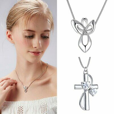 Fashion Women's Crystal Sliver Cross Love Heart Pendant Necklace Jewelry Gift
