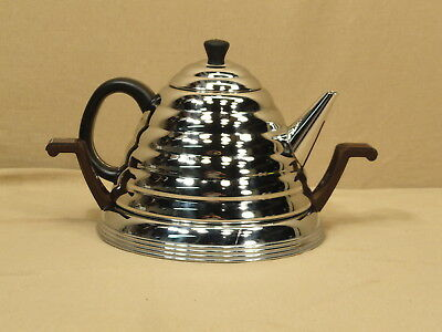 Vtg Chrome Beehive Tea Pot With Stand Bakelite Stainless Steel Coffee Antique
