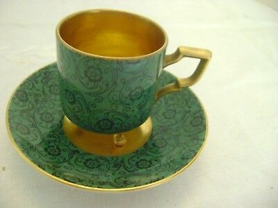 Vintage Small Green And Gold Footed Tea Cup And Saucer