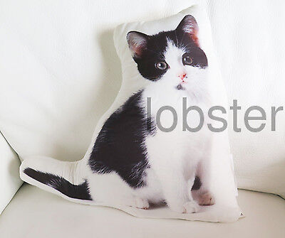 PRETTY KITTY CAT PILLOW Black White Photograph on fabric 14 inch zipper cover