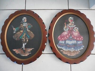 Vintage Cross Stitch Framed Picture Victorian Lady & Gent Worked In Embroidery