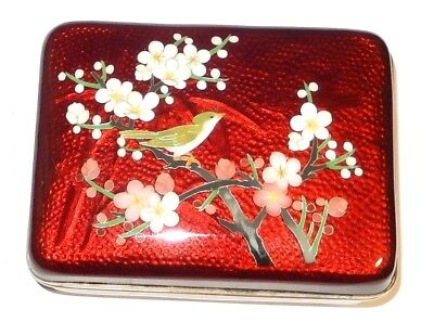Cloisonne Ginbari Pigeon Blood Red Enamel Bird On Cherry Blossom Humidor Jar Box