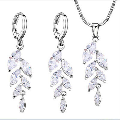 Wedding Jewelry Set Leaf Style Natural White Fire Topaz Silver Pendant Earrings