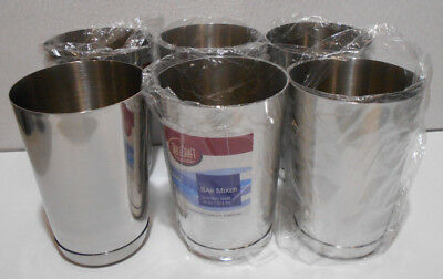 Lot of 6 New Stainless Steel 16 Ounce / 473 ml Bar Mixer Shaker Cups