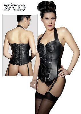Corset Black Leather With Double Lace Lingerie Sexy Woman Leather