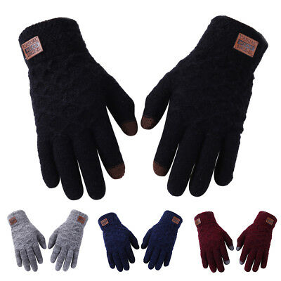 Soft Mens Thermal Gloves Cashmere Wool Knitted Winter Gloves Warm Mittens Hot DW