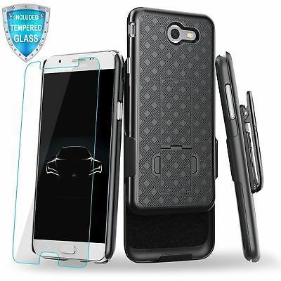 For Samsung Galaxy J7 2017 Case Holster Belt Clip Kickstand Cover Tempered Glass