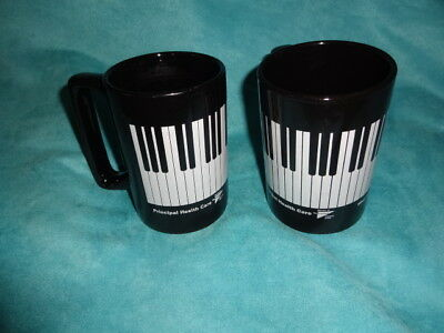2 lot Vintage Piano Key Coffee Mug Tea Cup Music Teacher large Mug black white