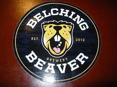 BELCHING BEAVER BREWERY peanut butter circle STICKER decal craft beer brewing