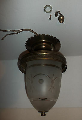 Vintage Ceiling Light Fixture Brass (?) with Frosted Glass Globe Dome Untested