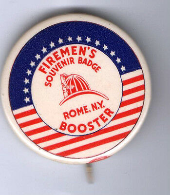 1950 pin  Firemen's Souvenir Badge pinback  Rome NY Booster button