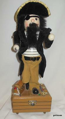 """Vintage Nutcracker Pirate Music Box Wind Up Not Perfect 13"""""""