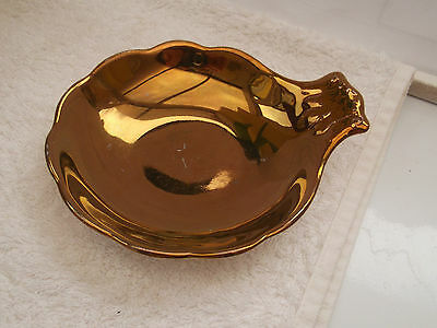 Grays Pottery Gold Lustre Small Shaped Bowl / Trinket Dish With A Handle