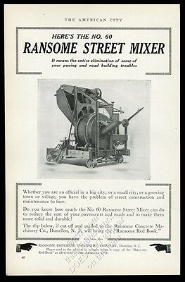 1913 Ransome Street Mixer pavement road concrete mixing machine photo trade ad