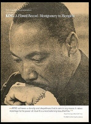 1971 Martin Luther King Jr photo Montgomery to Memphis movie trade print ad