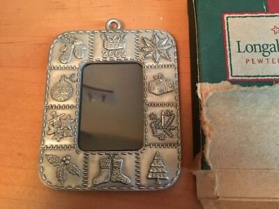 Longaberger Pewter 2002 Christmas Picture Frame Ornament - USA!