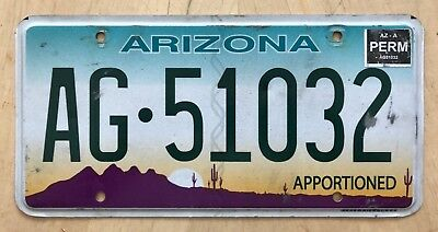 """Arizona Apportioned Semi Truck Tractor License Plate """" Ag 51032 """" Az Pro-Rate"""