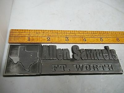 Old Plastic Car Dealer Emblem Allen Samuels Fort Worth